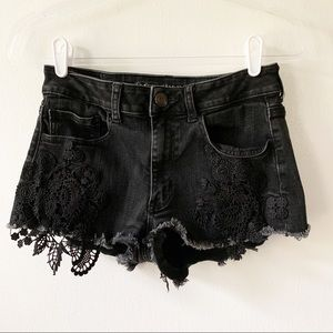 American Eagle Lace Trim Hi-Rise Shortie Shorts 6